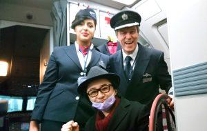 ウィーン行きの飛行機の中で